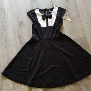 Bow tie tuxedo style skater dress